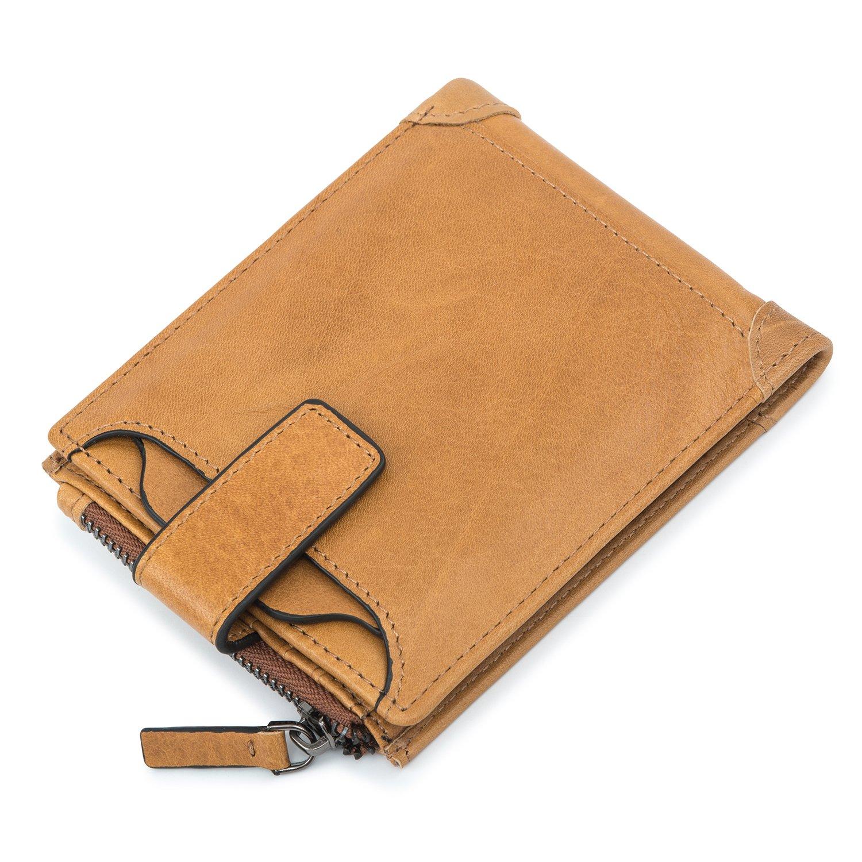 DrawingIQ メンズ二つ折り財布 本革 レザー 大容量 ウォレット 小銭入れ付き「16069-2」 B071J88KDD  イエロー