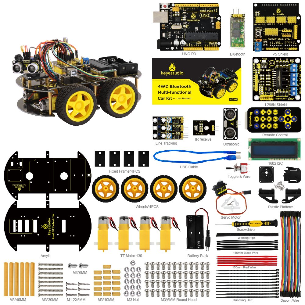 keyestudio Robot Kit for Arduino 4WD Bluetooth Multi-functional Smart Car Kit with UNO R3 and Tutorial, Stem Education Toy for Boys and Girls by KEYESTUDIO (Image #2)