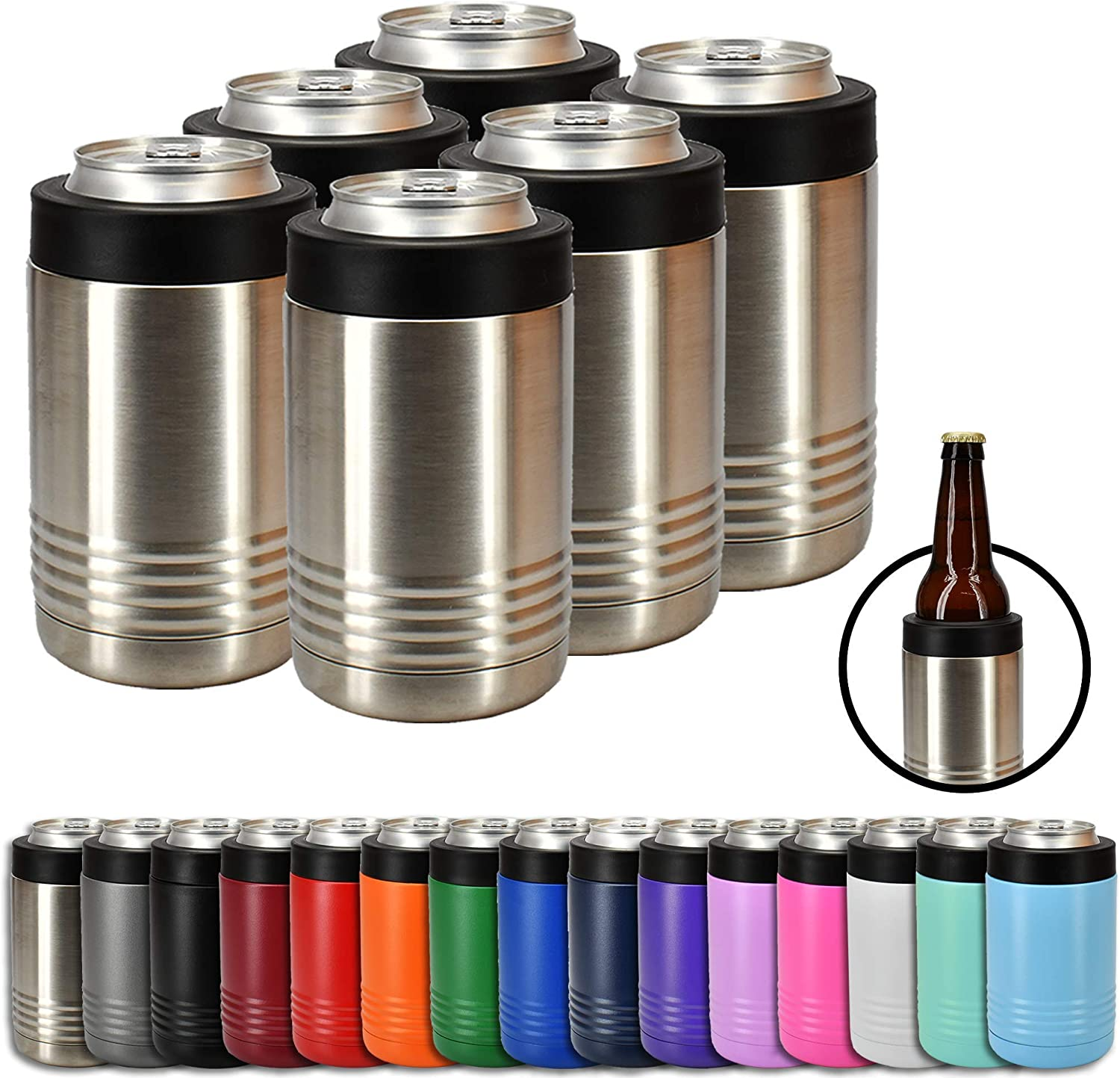 Clear Water Home Goods - 12 oz Stainless Steel Double Wall Vacuum Insulated Can or Bottle Cooler Keeps Beverage Cold for Hours - Stainless Steel - 6 Pack