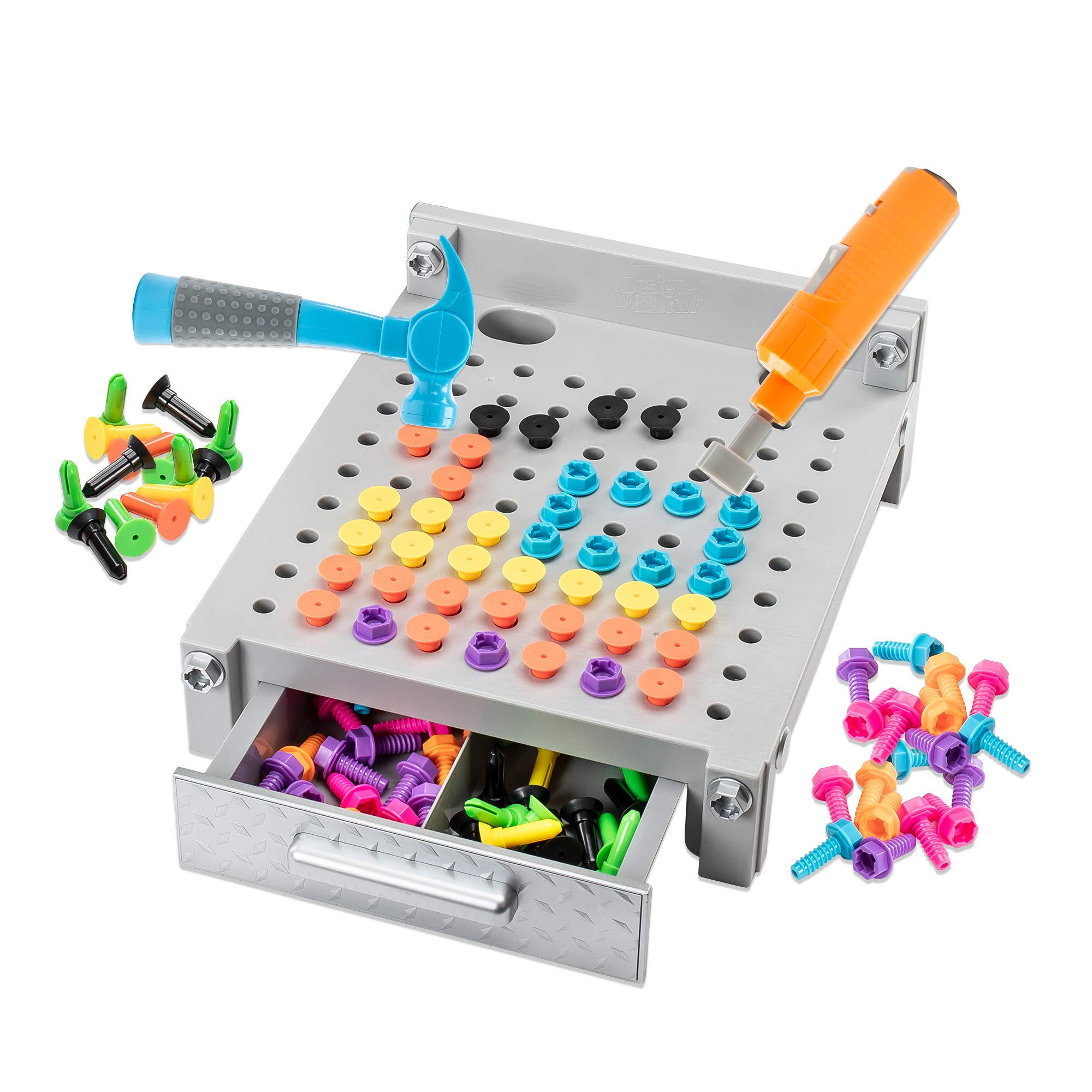 Educational Insights Gray Design & Drill Gray My First Workbench: Over 160 Pieces-Preschool Drill Toy