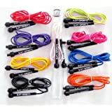 BAY® FLASH Sports NEON Springseil MIT DOSE 310 cm farbiges Profi JUMP Rope schwarz weiß rot blau pink lila rosa gelb orange grün purpur violett PVC Seil Kunststoff Sprungseil bunt farbig 300 290 280