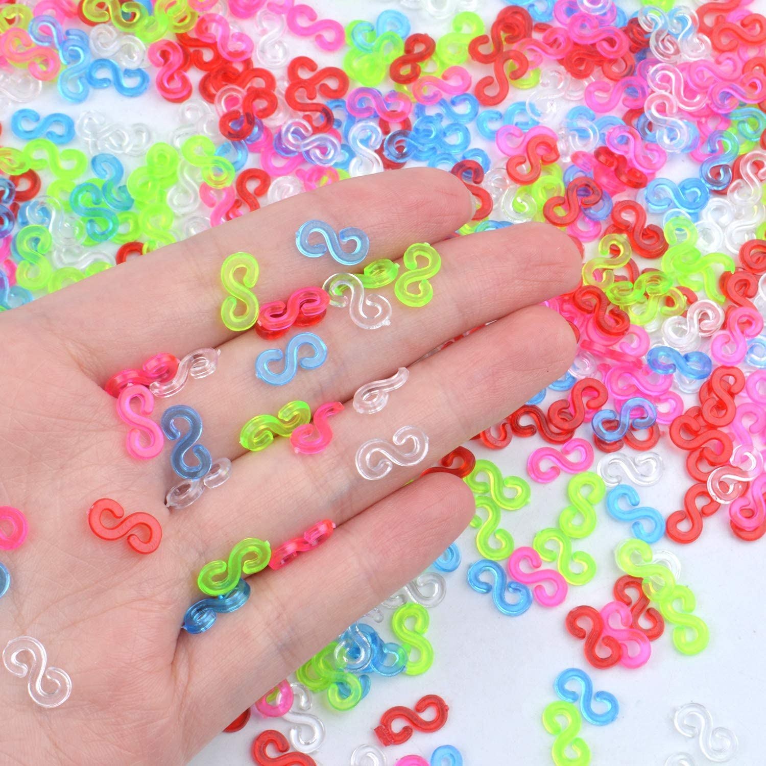 500 Pieces Colorful S Clips Plastic Connectors Refills Kit Clip for Making Loom Band Bracelets Rainbow Loom Bands Clips