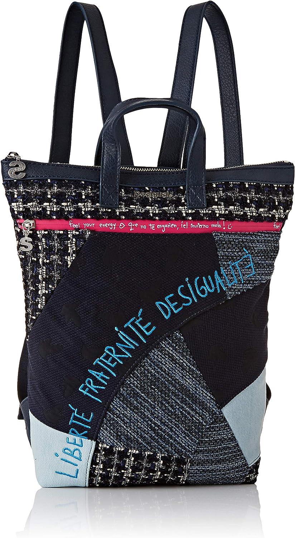 Desigual Backpack LIBERTÉ Patch BAZA 2, Mochila Moderna. para Mujer, Azul, Einheitsgröße