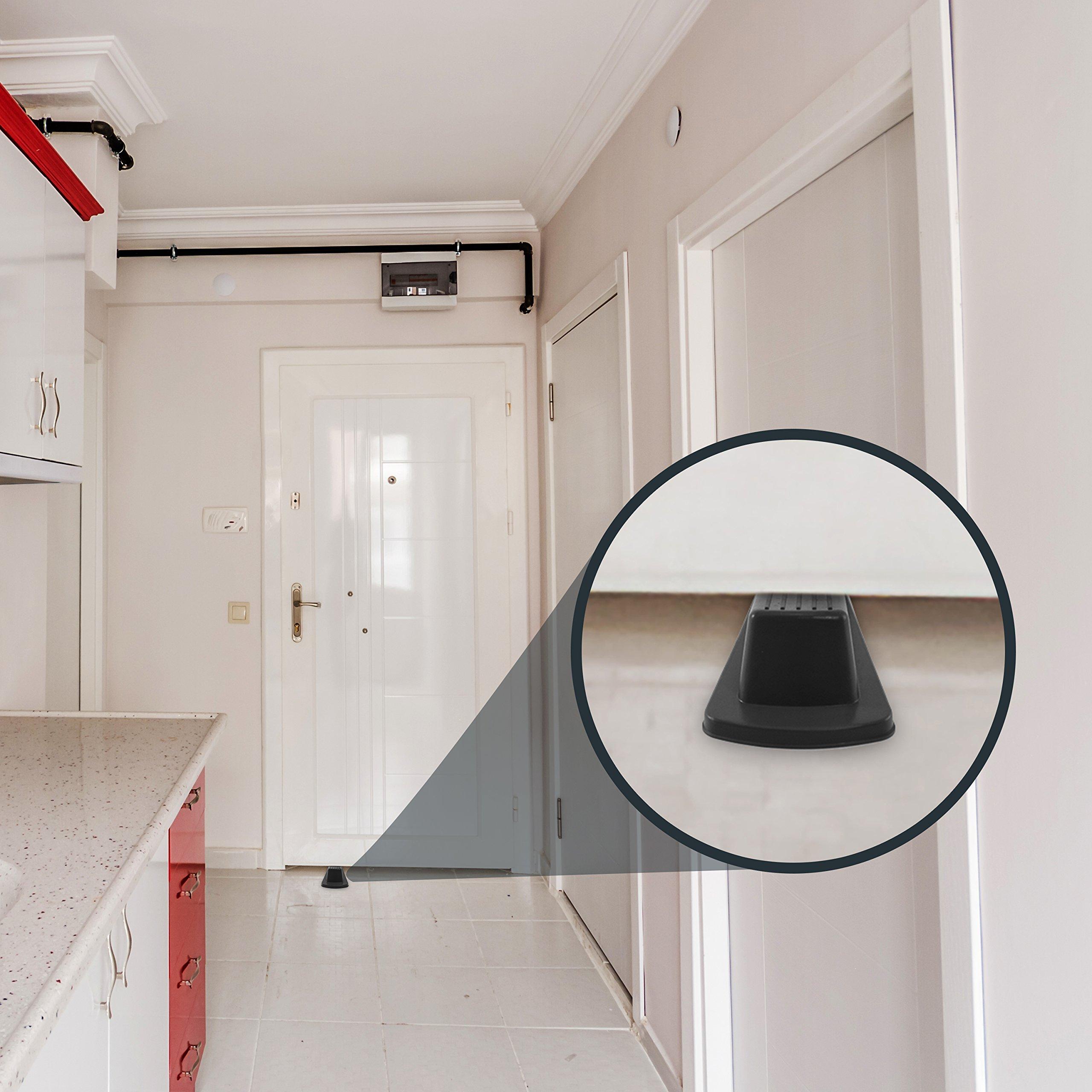 Home Premium Rubber Door Stop - Large Door Stopper Wedge, Multi Surface Design (4 Pack, Black) by HOME PREMIUM (Image #7)