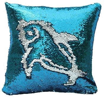 Starbay Funda de cojín con Lentejuelas de Sirena Reversible Brillante para sofá, 40 x 40 cm, Tela Satinada, Sky Blue and Silver, 16 x 16 x 1
