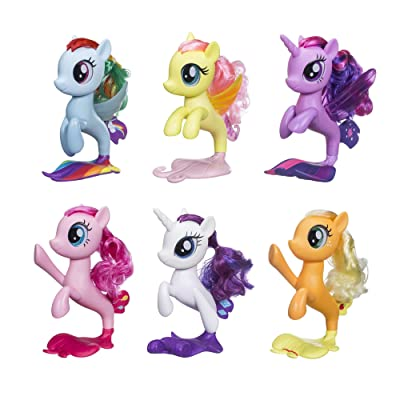"My Little Pony 6 Seapony Toys – Twilight Sparkle, Rainbow Dash, Pinkie Pie, Rarity, Fluttershy, & Applejack 6"" Mermaid Ponies ( Exclusive): Toys & Games"