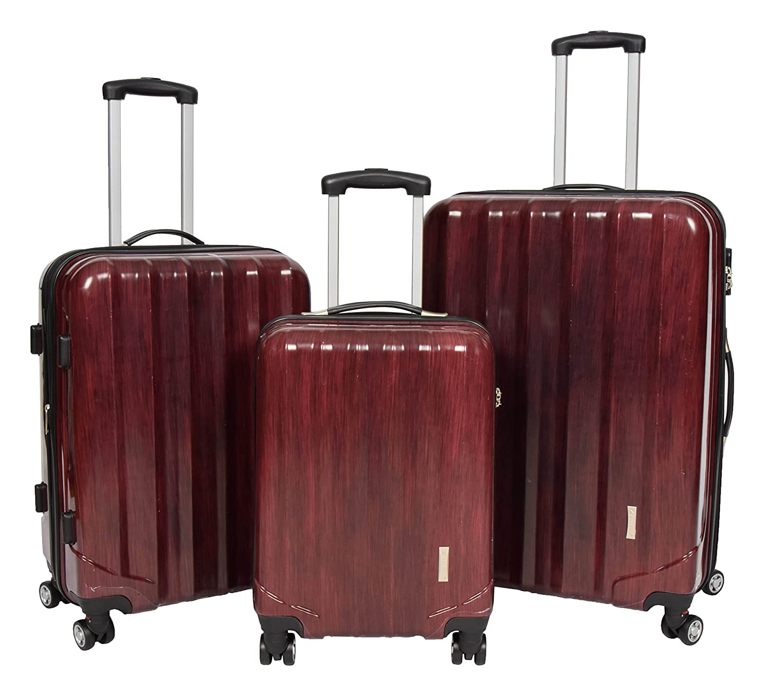 4 Wheel Luggage Suitcase Expandable Lightweight Trolley with Combination Lock Hard Shell Bag - Stone Red (Full Set 3 Pcs)