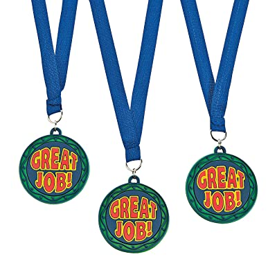 Fun Express Great Job Eva Rubber Medal/Ribbons-1Dz - 12 Pieces - Educational and Learning Activities for Kids: Toys & Games