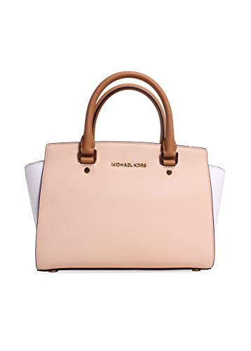 5d734716219b84 Michael Kors Selma Medium Color-block Saffiano Leather Satchel Nude/white /peanut