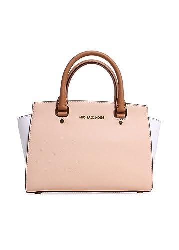 b7f045cc85114 Michael Kors Selma Medium Color-block Saffiano Leather Satchel  Nude/white/peanut