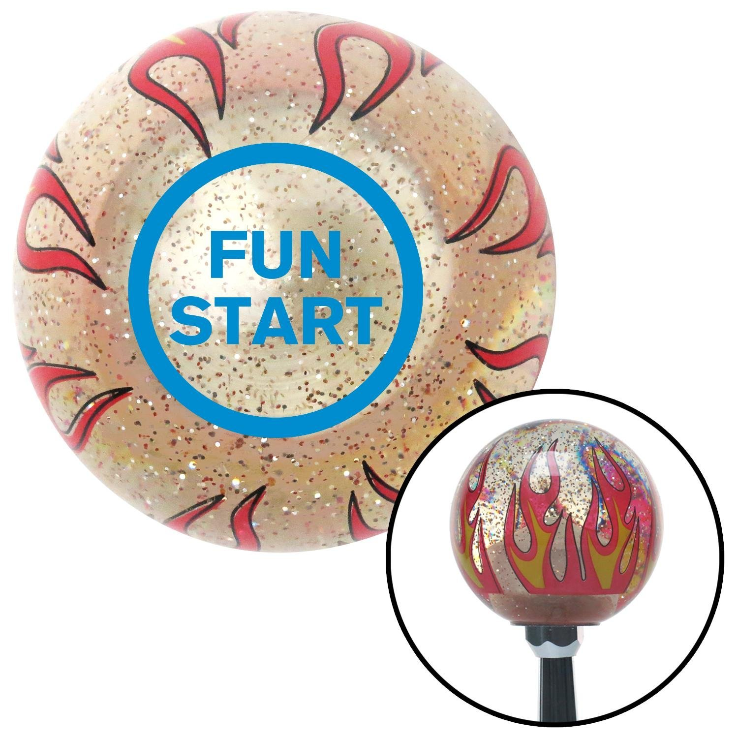 American Shifter 231721 Clear Flame Metal Flake Shift Knob with M16 x 1.5 Insert Blue Fun Start