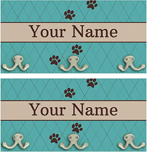 ThisWear Home Decorations Last Name Paw Print Wedding Gifts 2-Pack Personalized Wood Wall Mounted Coat Racks