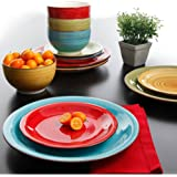 Better Homes and Gardens Festival 12-Piece Dinnerware Set, Assorted, Dishwasher Safe