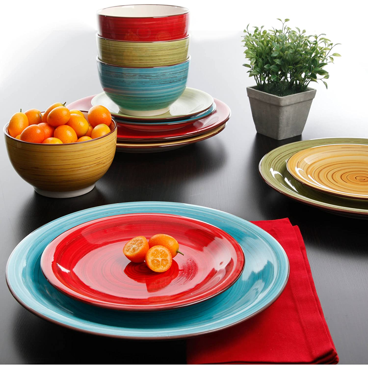 Amazon.com | Better Homes And Gardens Festival 12 Piece Dinnerware Set,  Assorted, Dishwasher Safe: Dinnerware Sets