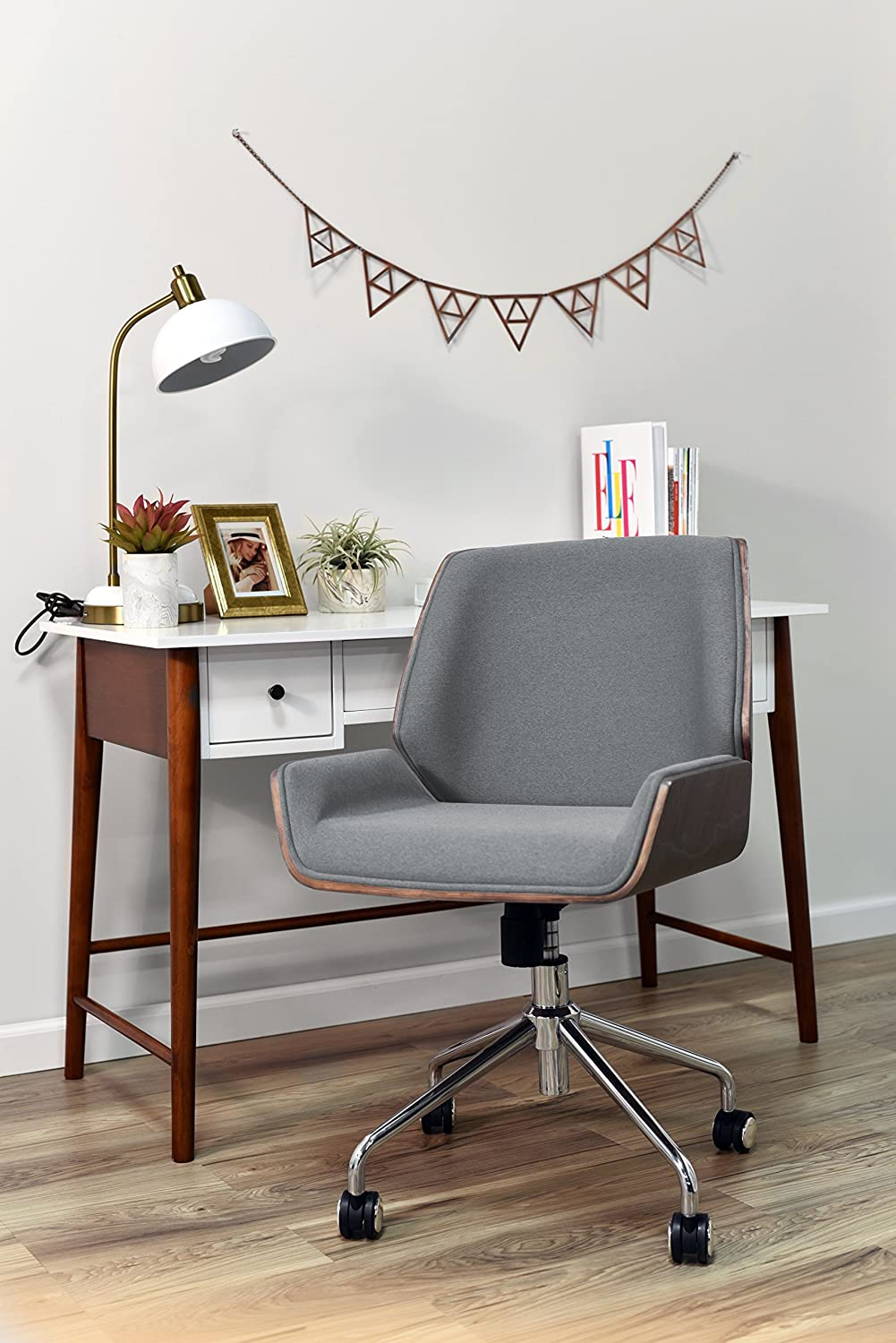 ELLE D cor Ophelia Bentwood Task Chair, Gray
