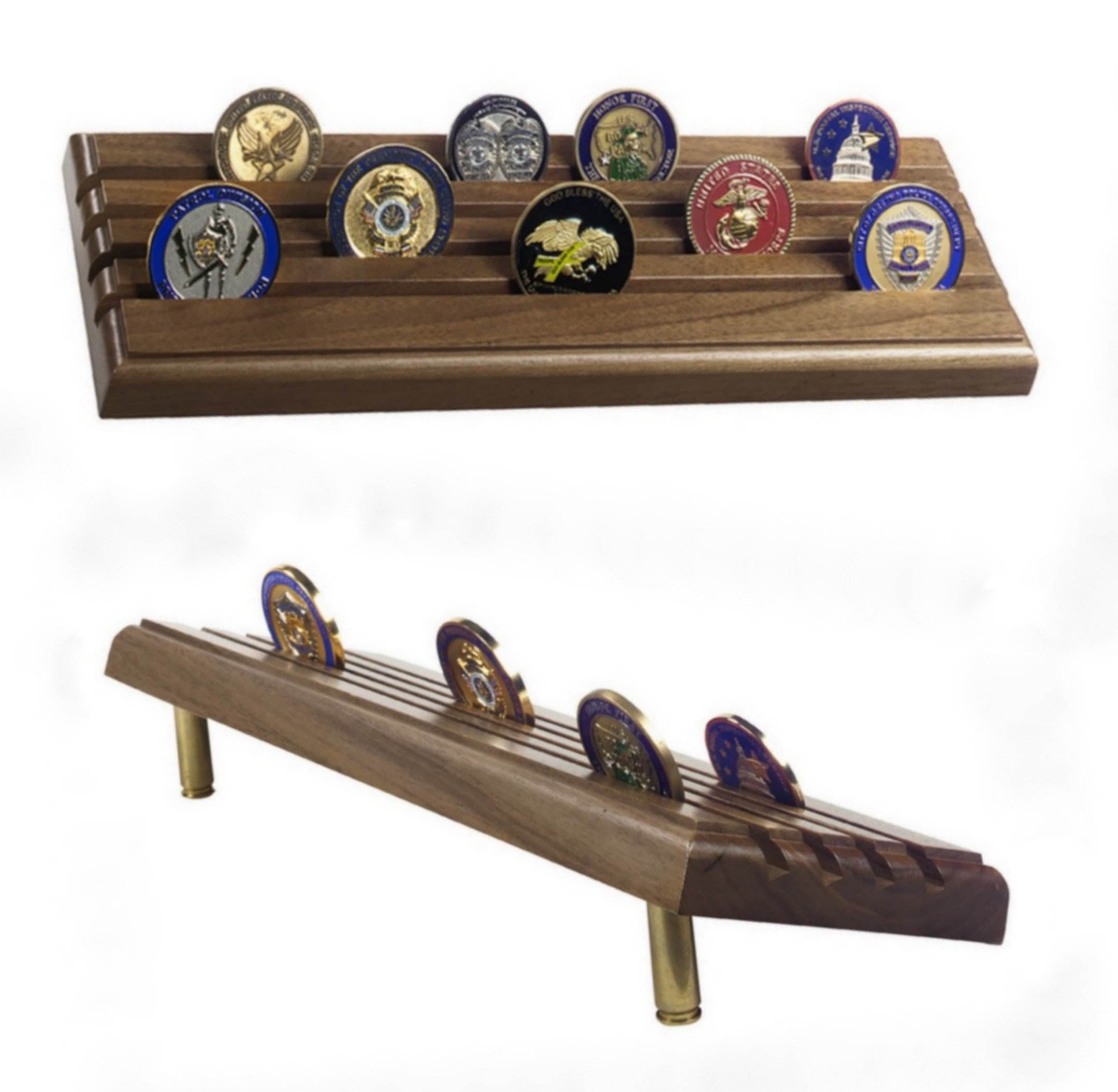 Made in USA Military 4-Row Tiered Coin Display Rack with Gun Shells - Natural Walnut
