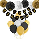 Paxcoo Black and Gold Birthday Decorations with Happy Birthday Banner Black Gold Balloons and Party Supplies for 20st, 30th, 40th, 50th, 60th, 70th,75th, 80th Birthday