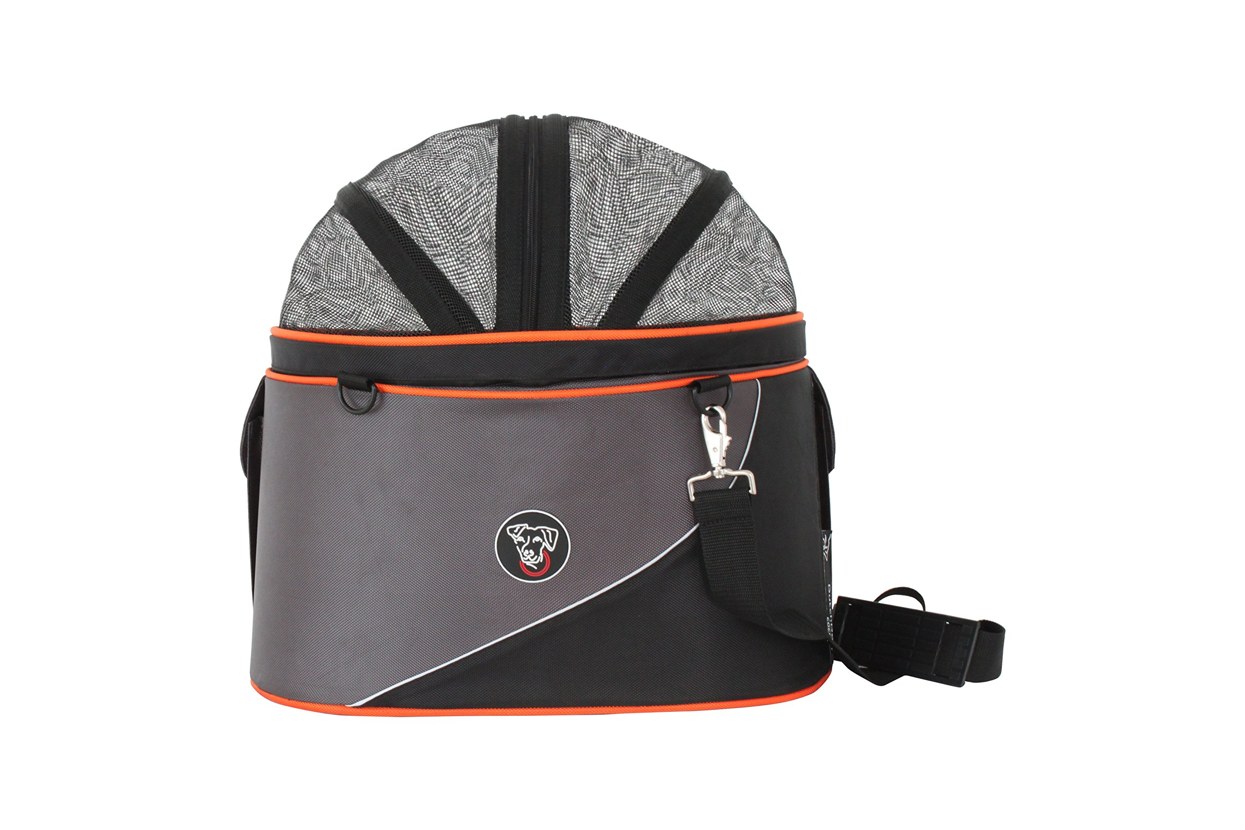 DoggyRide Cocoon Pet Carrier, Airline Carrier, car seat and Ready for use as Bicycle Basket, Large, Anthracite/Orange