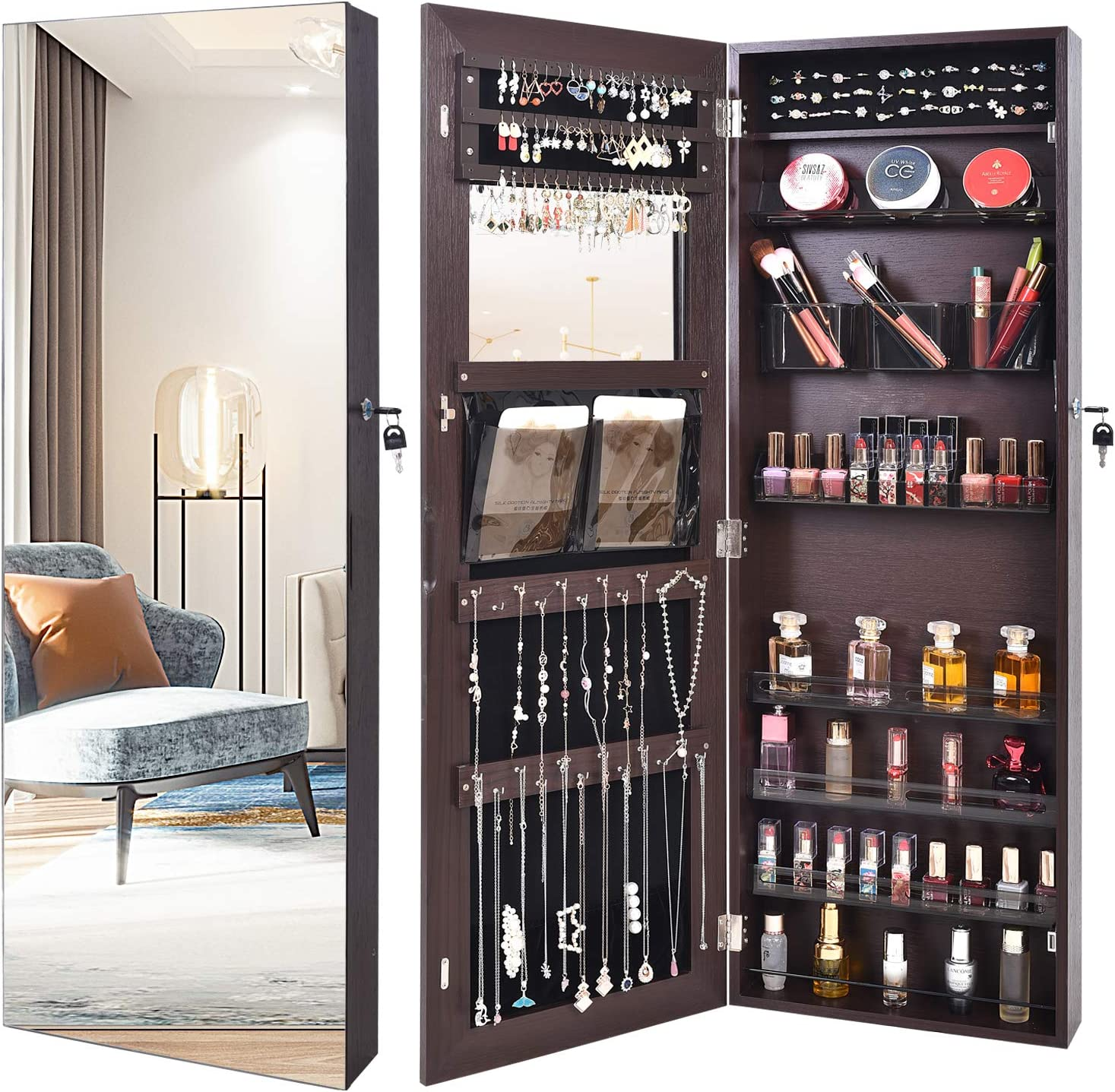 Outdoor Doit Framless Lockable Full mirror jewelry organizer Fashion Transparent box wall mounte/Borderless jewelry cabinet jewelry armoire with mirror/full length mirror hanging mirror 6181 (brown)