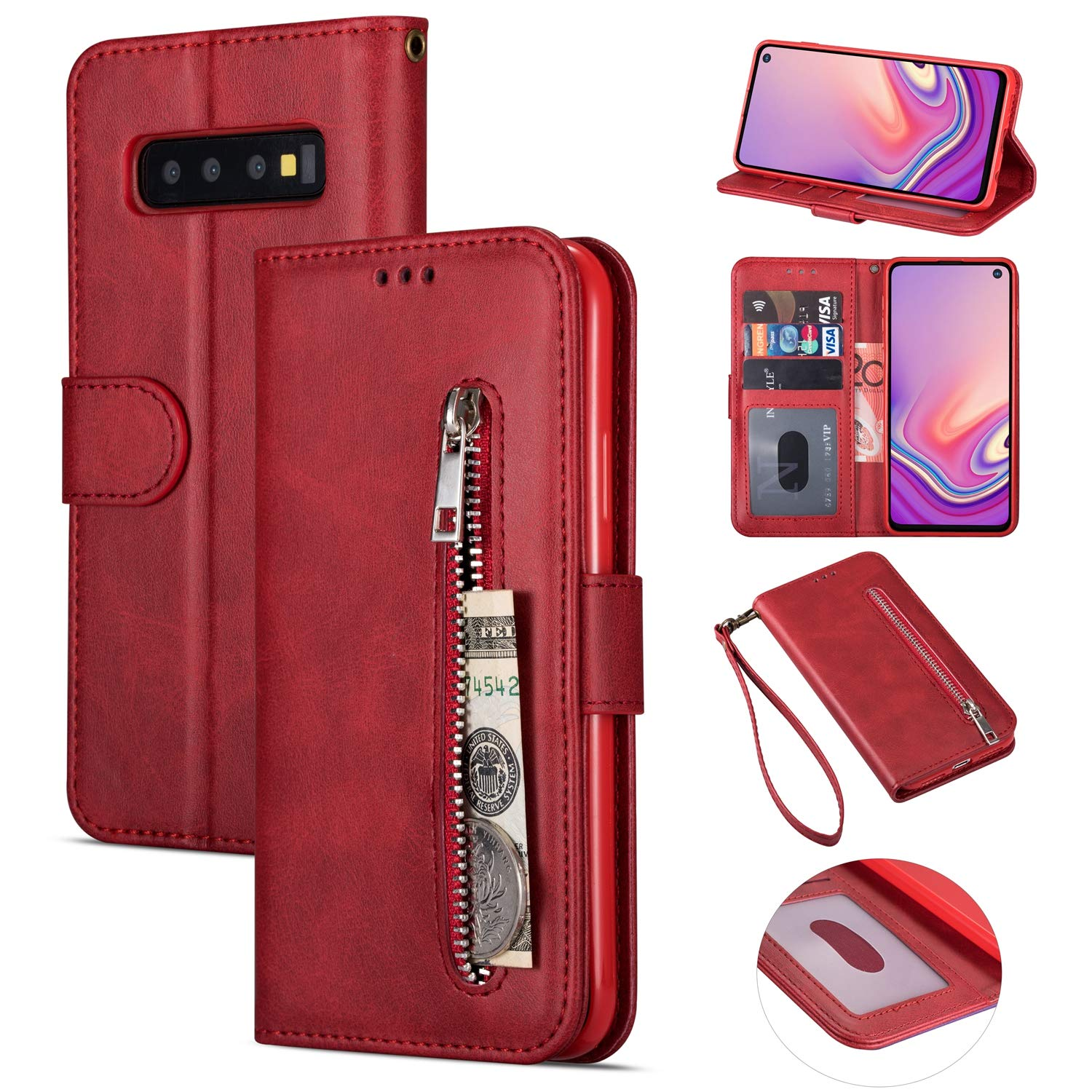 Zipper Wallet Case with Black Dual-use Pen for Samsung Galaxy S10,Aoucase Money Coin Pocket Card Holder Shock Resistant Strap Purse PU Leather Case for Samsung Galaxy S10 - Red by Aoucase