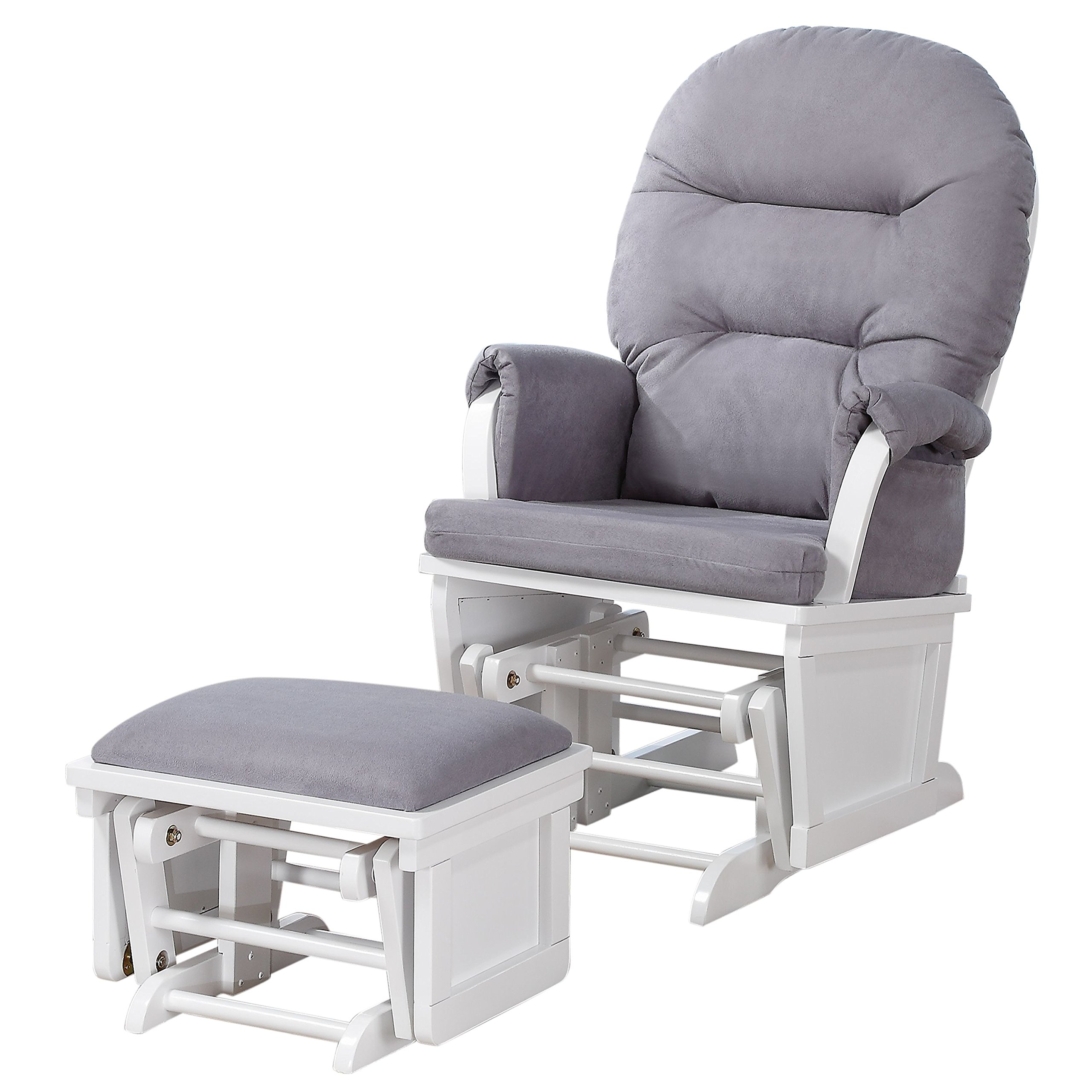 Shermag Contemporary Style Glider Rocker and Ottoman, White with Grey by Shermag