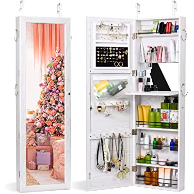 Black Hanging Jewelry Box Cabinets Frameless Mirror Jewelry Storage Organizer with Spacious Storage Space GOFLAME Lockable Jewelry Cabinet Armoire Wall Door Mounted