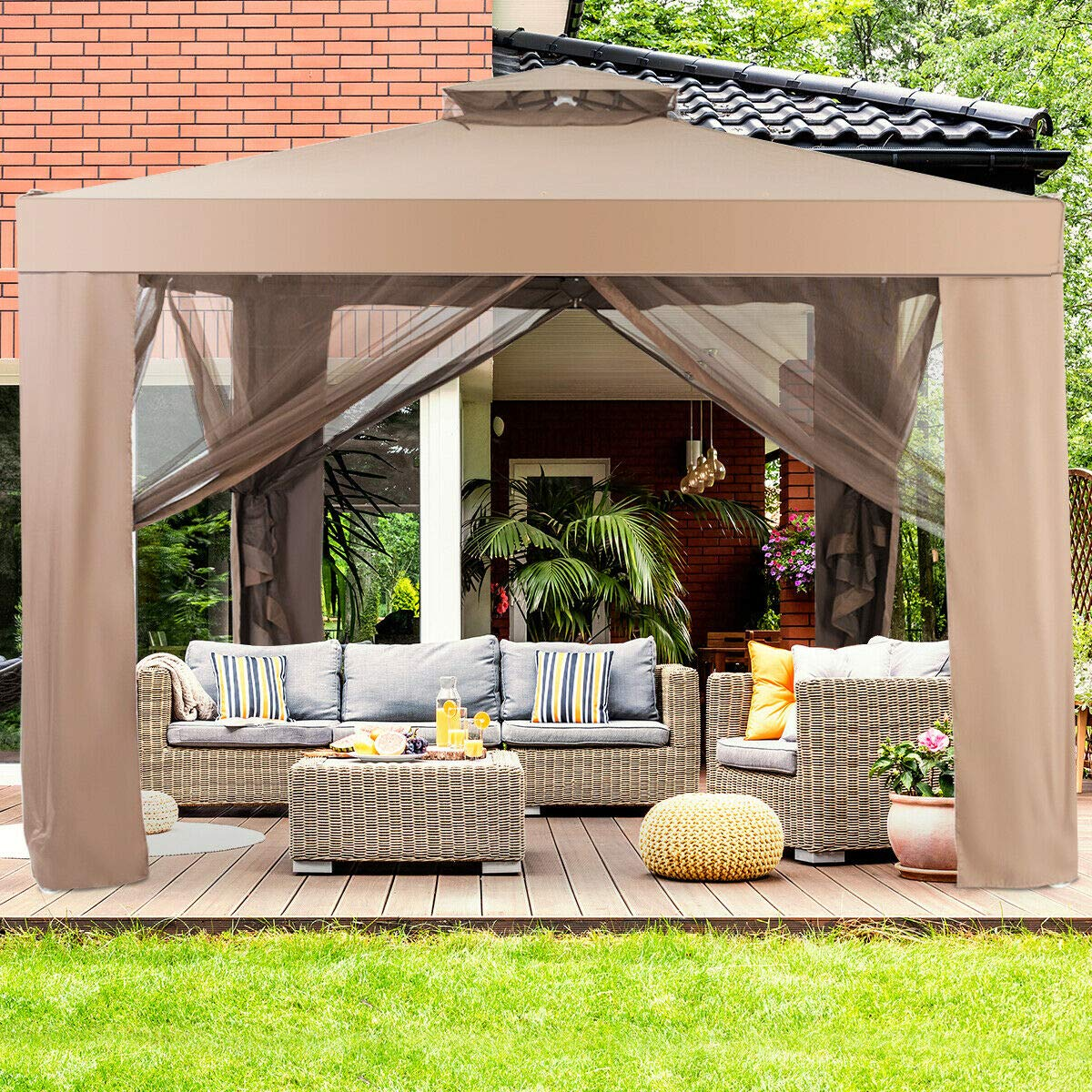 Tangkula 10 x 10 Canopy Gazebo Tent Shelter, Art Steel Frame for Home Garden Lawn Patio House Party, Patio Garden Structures Gazebos W Mosquito Netting Brown