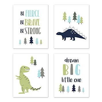 3 Modern Dinosaur Prints Dinos Nursery Wall Art Decor Pictures