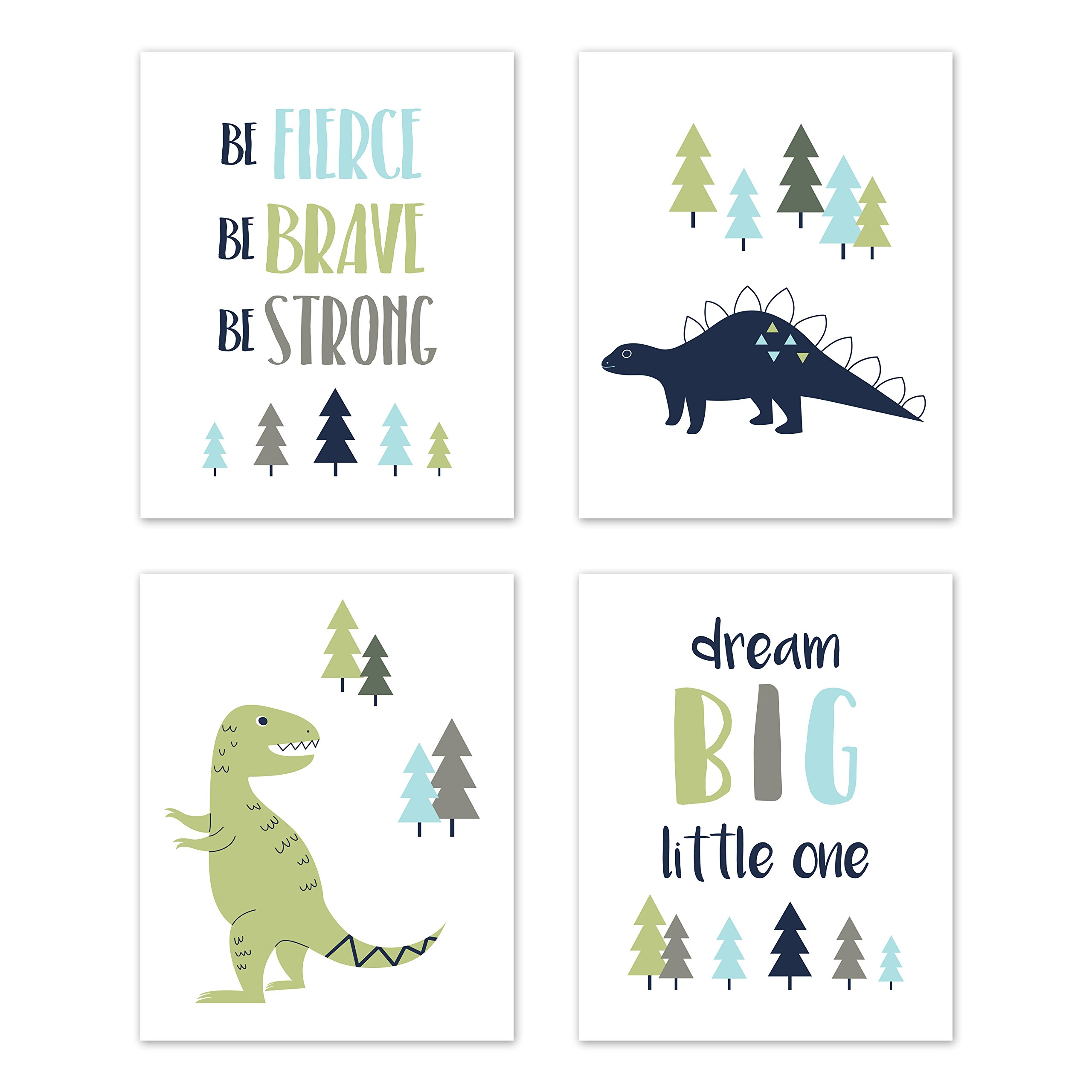 Sweet Jojo Designs Blue and Green Dream Big Dino Wall Art Prints Room Decor for Baby, Nursery, and Kids for Mod Dinosaur Collection - Set of 4