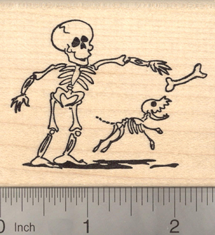 ハロウィンスケルトンラバースタンプ、Playingフェッチ犬ボーンで、死者の日