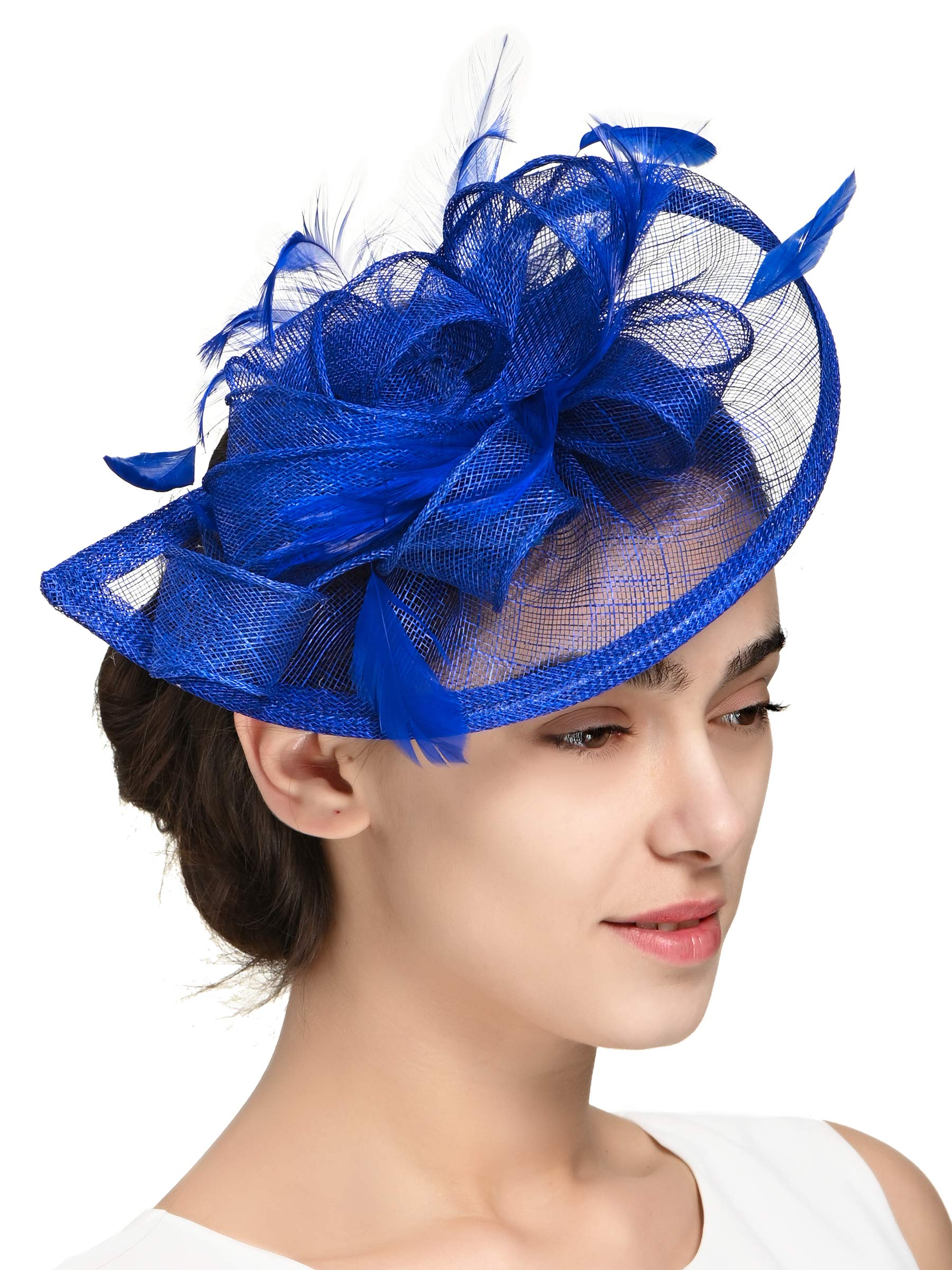 Fascinators Hat for Women Kentucky Derby Headband Wedding Mesh Feathers Tea Party Hair Clip (1-Royal) by Zivyes (Image #5)