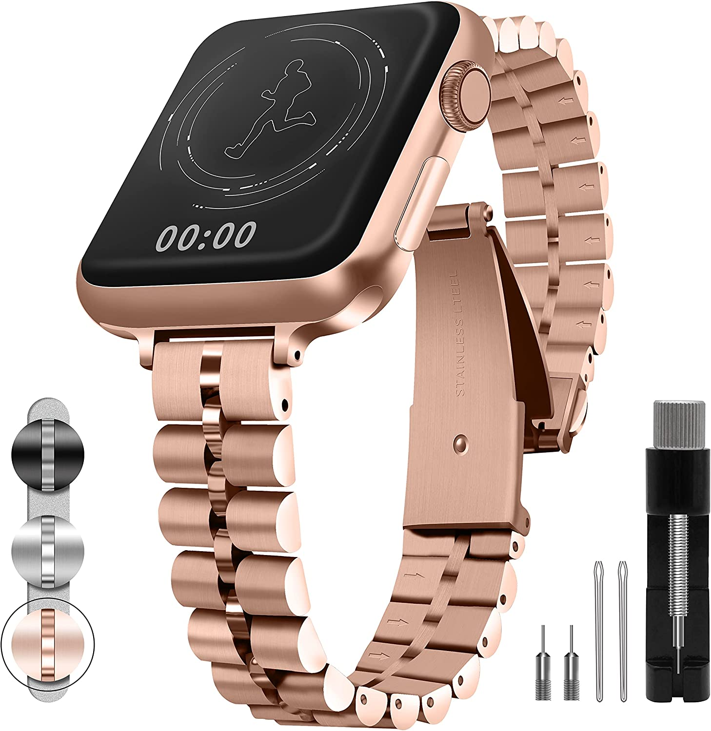 QUNDAXI Watch band Compatible with Apple watch 38mm 40mm 42mm 44mm Metal stainless bands women/men Wristband apply to Iwatch Se/6/5/4/3/2/1 series strap