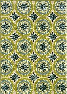 Granville Rugs Coastal Indoor/Outdoor Area Rug, Ivory/Blue/Green, 3
