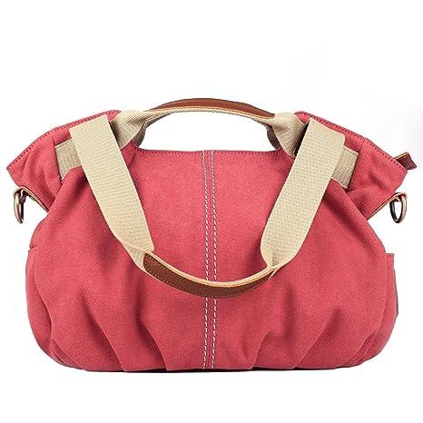b6578a9ed3 Eshow Women s Canvas bag Top Handle Totes Shoulder Bag Shopping Travel  School Cross body Bag for