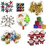 Krisah® 99 pcs Christmas Mini Ornaments Decoration Set (Satin Balls, Bells, Stars, Santa Claus Hanging, Candy Canes, Gifts, Drums & Santa Foil Balloon)