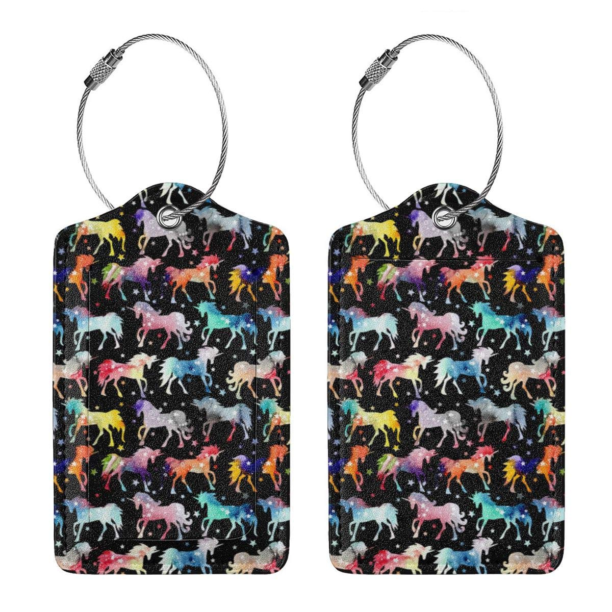 Rainbow Galaxy Unicorns Leather Luggage Tags Baggage Bag Instrument Tag Travel Labels Accessories with Privacy Cover