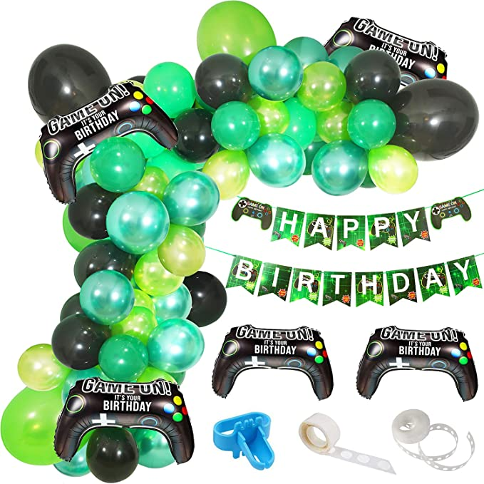 Video Pixel Birthday Decoration Gamer Birthday Party Decor Minecraft-Colored Birthday Garland Green and Brown Square Party Garland