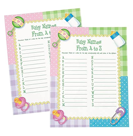 Amazon Baby Names From A To Z Baby Shower Game 24 Sheets