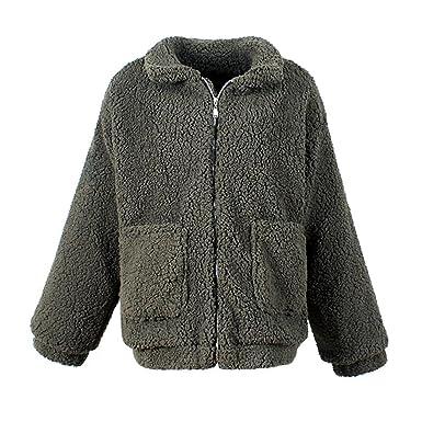 0fef9989504 Women Fashion Fluffy Shaggy Faux Fur Winter Coat Warm Cardigan Bomber Jacket  Lady Coats Zipper Outwear Jackets Plus Size