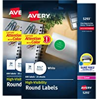 """Avery White High Visibility Round Labels with Sure Feed, Permanent, 1-2/3"""", 2 Pack, 1,200 Labels Total (32135)"""
