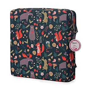 Zicac High Chair Portable Booster Seat Cushion Travel Dining Seat Pad for Toddler Kids Baby Infant Washable Thick Chair Seat Pad (Forest Animals)