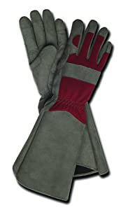Professional Rose Pruning Thorn Proof Gardening Gloves with Extra Long Forearm Protection for Women (TE195T-S) - Puncture Resistant, Small (1 Pair)