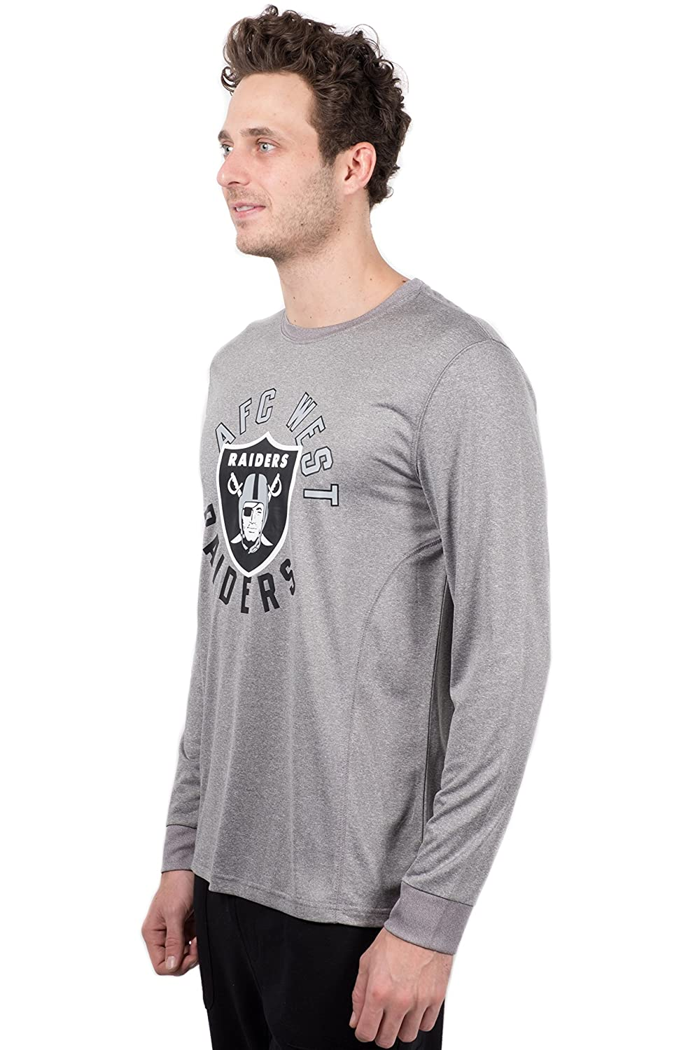 Heather Gray NFL Oakland Raiders Ultra Game Mens LS POLY CREW NECK TEE Small