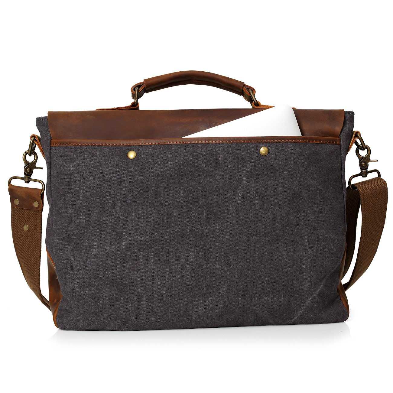 Gray x 4.1 x10.5 W Gray L x10.5 Vintage Canvas Real Leather 14-inch Laptop Briefcase for Everday use 13 H x 4.1 H W Wowbox Messenger Satchel Bag for Men and Women,Vintage Canvas Real Leather 14-inch Laptop Briefcase for Everday use 13 L
