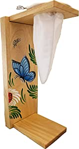 Chorreador,Costa Rican Handmade Portable Foldable Wooden Stand Coffee Maker,Included:1 Large Reusable Cloth Filter(Bolsa de Chorrear Cafe),Model:Blue Morpho Butterfly, Color:Light, Wood: Gmelina