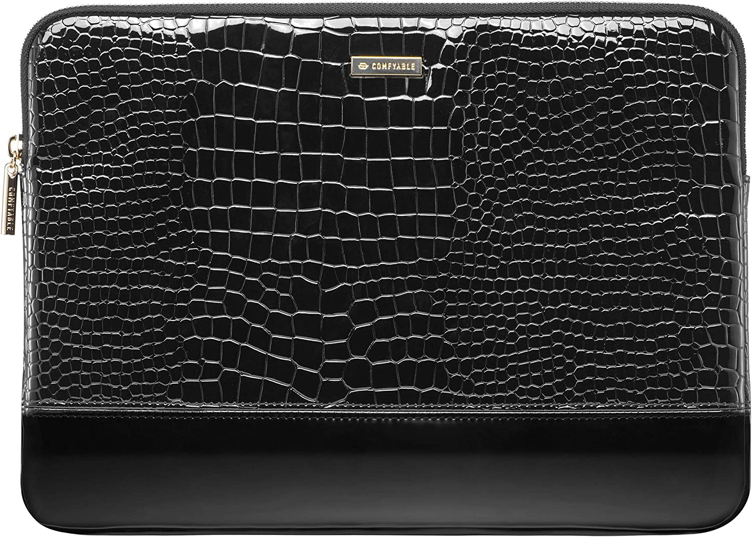 Comfyable Laptop Sleeve for 13-13.3 Inch MacBook Air and MacBook Pro, Alligator/Crocodile PU Faux Leather, Black