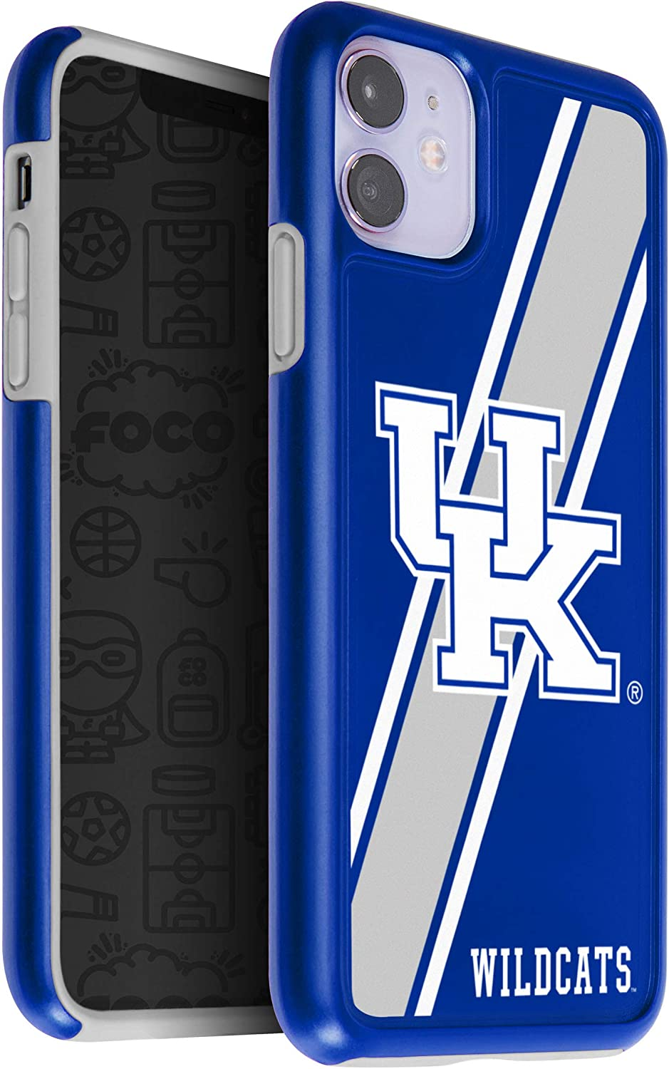FOCO NCAA Kentucky Wildcats Unisex iPhone 11 6.1 Inch/ Screen Only /Dual Layered Impact Licensed Case One Size Team Color
