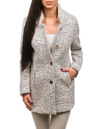 BOLF Mujer Abrigo Cierre De Botones AAA 6011-1 Blanco One_Size [D4D]: Amazon.es: Ropa y accesorios