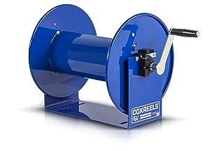 "Coxreels 112-3-150 Compact Hand Crank Hose Reel, 4,000 PSI, Holds 3/8"" x 150' Length Hose, Hose Not Included,Blue"