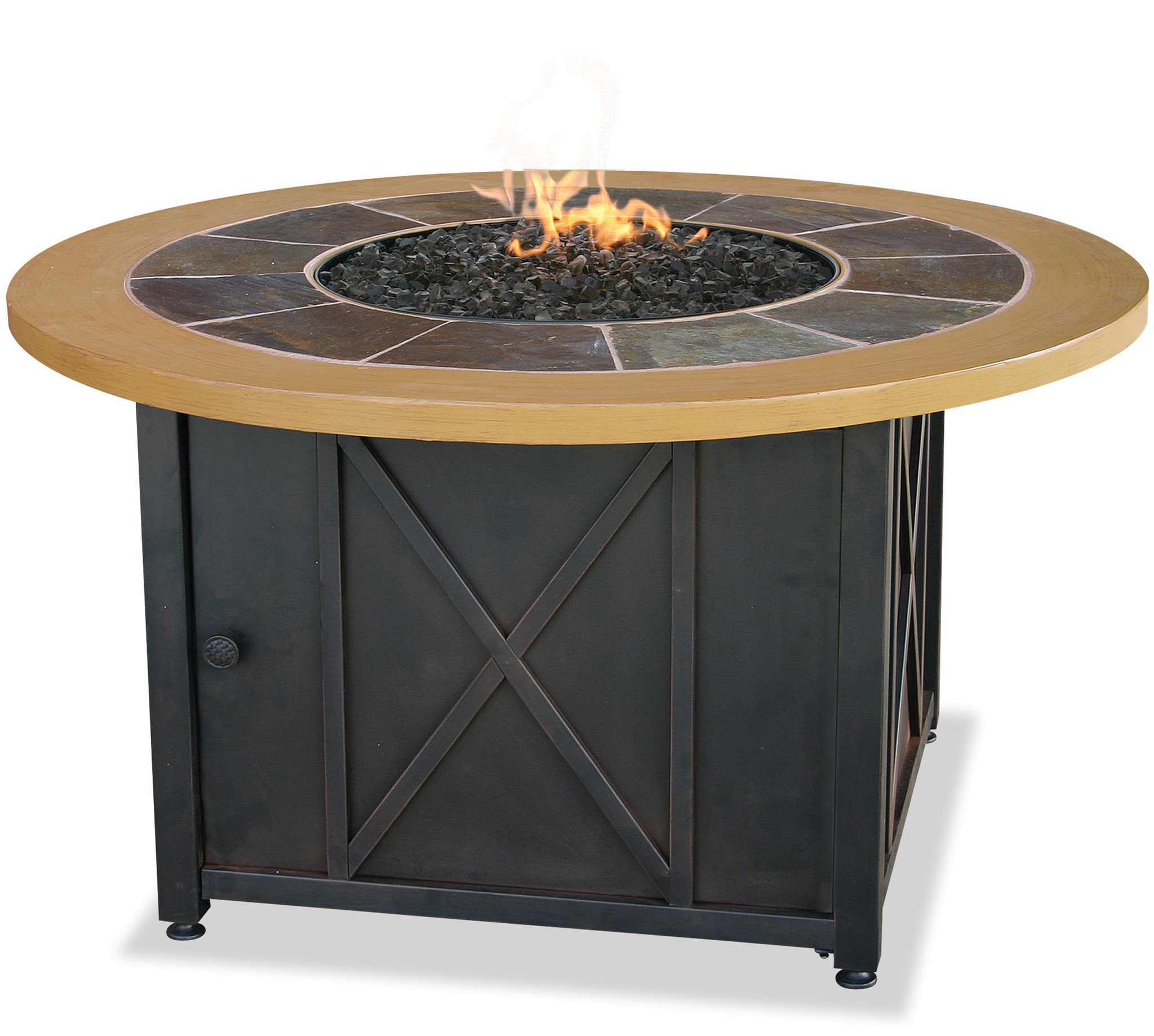 Uniflame LP Gas Outdoor Firebowl with Slate & Faux Wood Mantel